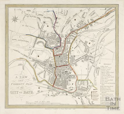 A New and Correct Plan of the City of Bath 1848