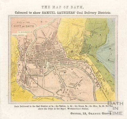 The Map of Bath Coloured to show Samuel Saunders' Coal Delivery Districts 1856