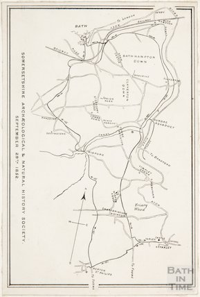 Map of Bath for the Somersetshire Archaeological and Natural History Society 1852