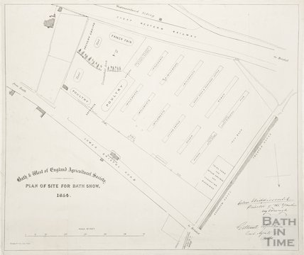1854 Bath & West of England Agricultural Society. Plan of Site for Bath Show