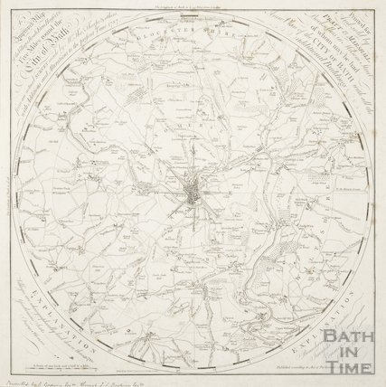 An Improved Map of the Villages, Roads, Farm Houses & c. Five Miles round the City of Bath 1787