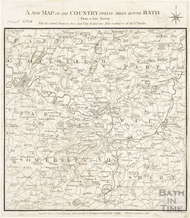 A New Map of the Country Twelve Miles Round Bath (from a late survey) c.1810