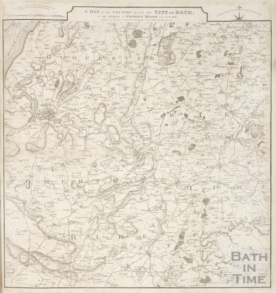 A Map of the Country Round the City of Bath: to the Extent of Fifteen Miles and Upwards 1814