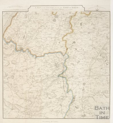 A Map of the Country Round the City of Bath: to the Extent of Fifteen Miles and Upwards 1835