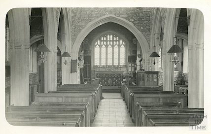 Inside St Giles's Church, Leigh on Mendip, Somerset c. 1935