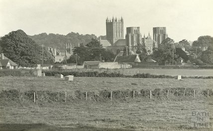 Distant view of Wells cathedral across the fields, c.1930s