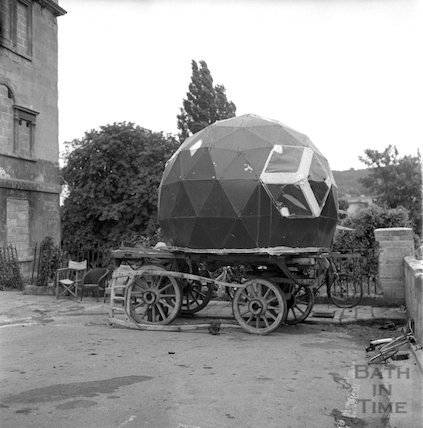 A hippy squatter's wagon outside Chatham Row, Bath, shortly before being evicted, 20 July 1973