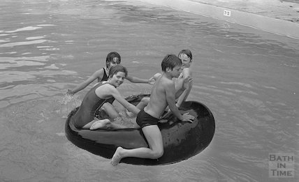 Open air fun at the Cleveland Baths, 25 June 1983