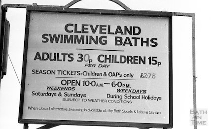 The entrance sign to the Cleveland Baths, Bath, 4 July 1977