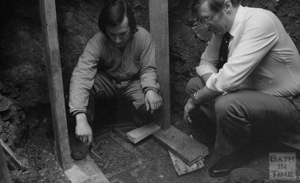 The Roman mosaic and skeleton found under the Crystal Palace pub, Abbey Green, Bath, 13 May 1981