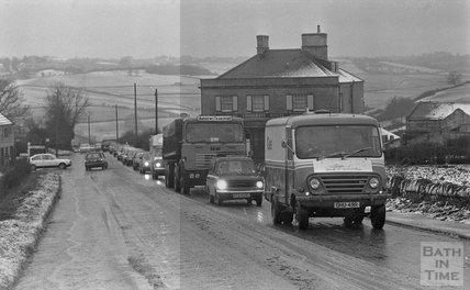 Snowy scenes in Peasdown St John, Bath, 31 January 1983