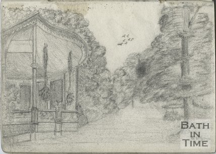 A sketch of the bandstand in Sydney Gardens, c.1885