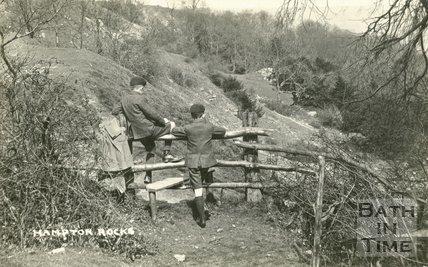 The photographer's twins at Hampton Rocks, Bath, c.1920