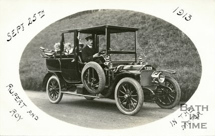 The photographer's twins being chauffeured by their uncle Sidney Bence, September 25th 1913