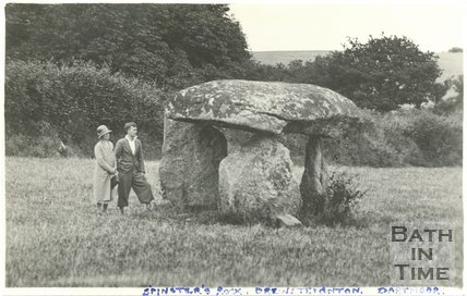Violet Dafnis and son at Spinster's Rock, Drewsteignton, Dartmoor, Devon, c.1935