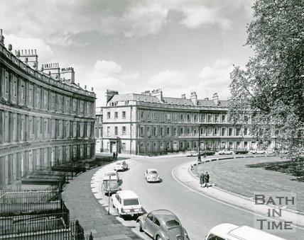 The Circus, Bath from the corner of Brock Street, 1975-6