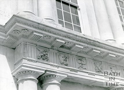 Detail of stone restoration of the Circus on the corner of Brock Street and No. 11, the Circus 1970