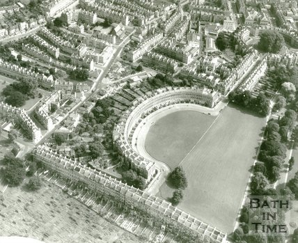 c.1960 Aerial view of the Royal Crescent and St James Square, Bath
