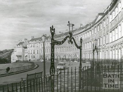 View of Lansdown Crescent and decorative ironwork, c.1950s