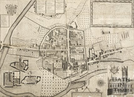 Complete Joseph Gilmore Map of the City of Bath 1717