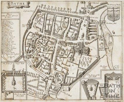 Plan of the City of Bath (Bathe) 1676