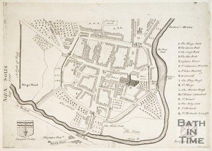 Map of Bath, Aquae Solis (sic) July 1723