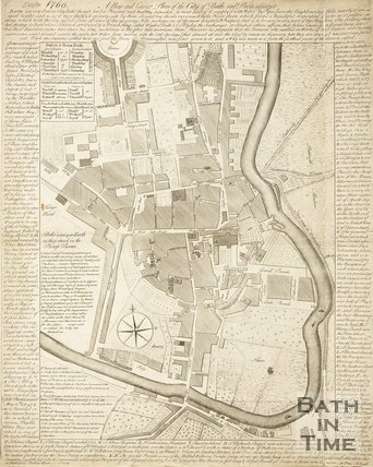 A New and Correct Plan of the City of Bath and place Adjacent 1760