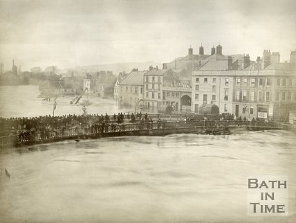 View across the Old Bridge towards Broad Quay during the Great Flood of October 1882