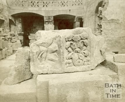 A roman fragment uncovered at the Roman Baths, Bath, c.1890