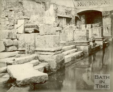 Roman artefacts shown at the newly excavated Roman Baths, Bath c.1890