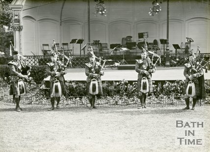 Highland pipers at the bandstand, Royal Victoria Park, Bath, June 20 1929