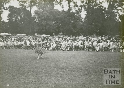 Attendees being entertained by a dancer at the mayoral garden party, Royal Victoria Park, June 20 1929