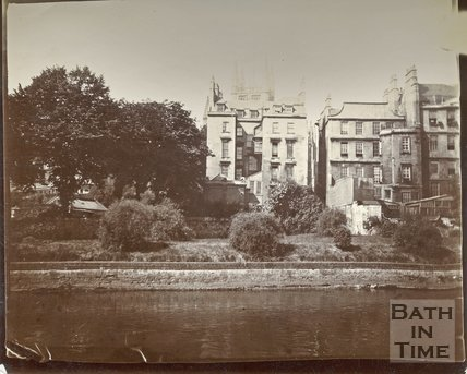 The backs of houses which once bordered the east side of Orange Grove, Bath, c.1895-1902