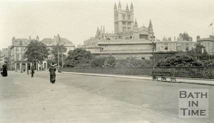 North Parade, Bath looking west showing the roof of Royal Literary and Scientific Institution, c.1915