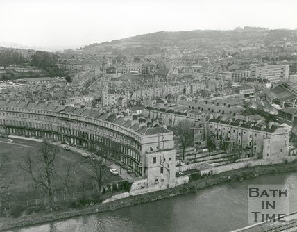 1971 Norfolk Crescent, Bath, aerial view looking east over city