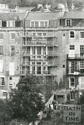No.4 Widcombe Crescent, Bath, restoration work in progress, November 1989