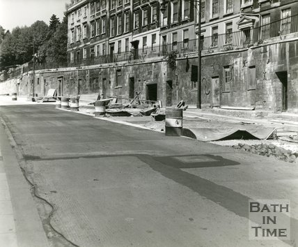 Walcot Parade during construction on the road and pavement, c.1950?