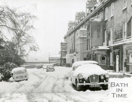 Queen's Parade, Bath after heavy snowfall, c.1967