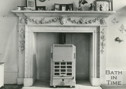 Fireplace showing architectural details, no.6, The Circus, Bath, c.1960s