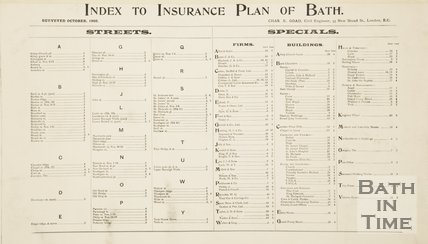 Index Goad Insurance Map of Bath 1902