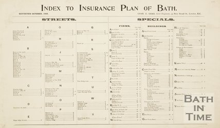 Index Goad Insurance Map of Bath 1936