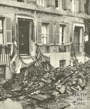 The Royal Crescent after the Bath Blitz, April 1942