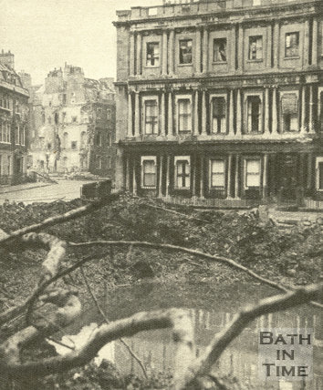 The bomb crater in the Circus, Bath, April 1942