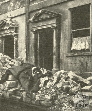 Bomb damaged Gay Streeet, Bath, April 1942