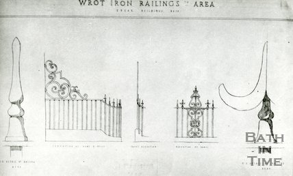 Architectural details. Edgar Buildings, Bath. Wrought iron railings