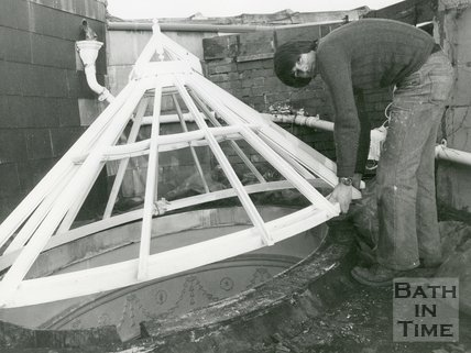 New oval window being put in place at Bath Theosophical Society, 9 February 1979