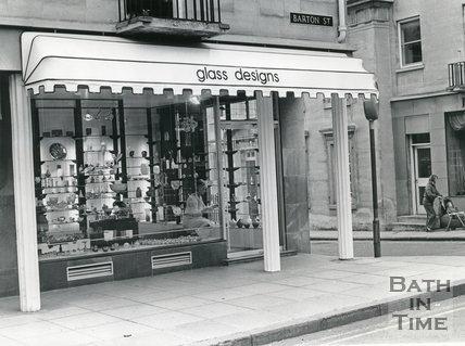 Glass Designs, Barton Street, Bath, April 1986
