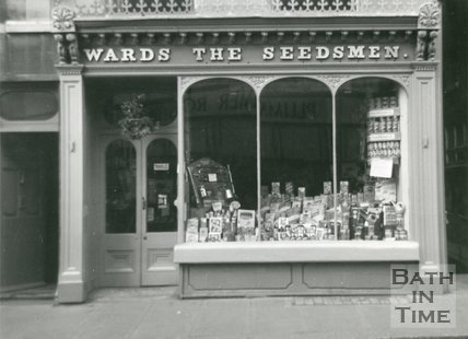Victorian shop front - Wards The Seedsman, Northgate Street, Bath, 1961
