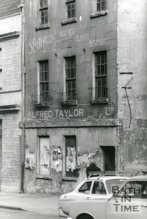 Shop signs on no.90 Walcot Street, Bath (taken before alterations) 1985.