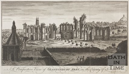 A perspective view of Glastonbury Abby, in the county of Somerset c.1733